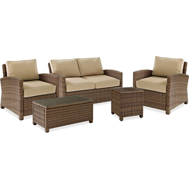 Outdoor Furniture - Destin Outdoor Loveseat, 2 Chairs, Coffee Table and End Table Set - Sand