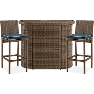 Destin Outdoor Bar and 2 Barstools - Blue