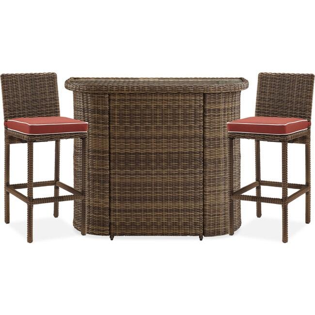 Outdoor Furniture - Destin Outdoor Bar and 2 Barstools - Sangria