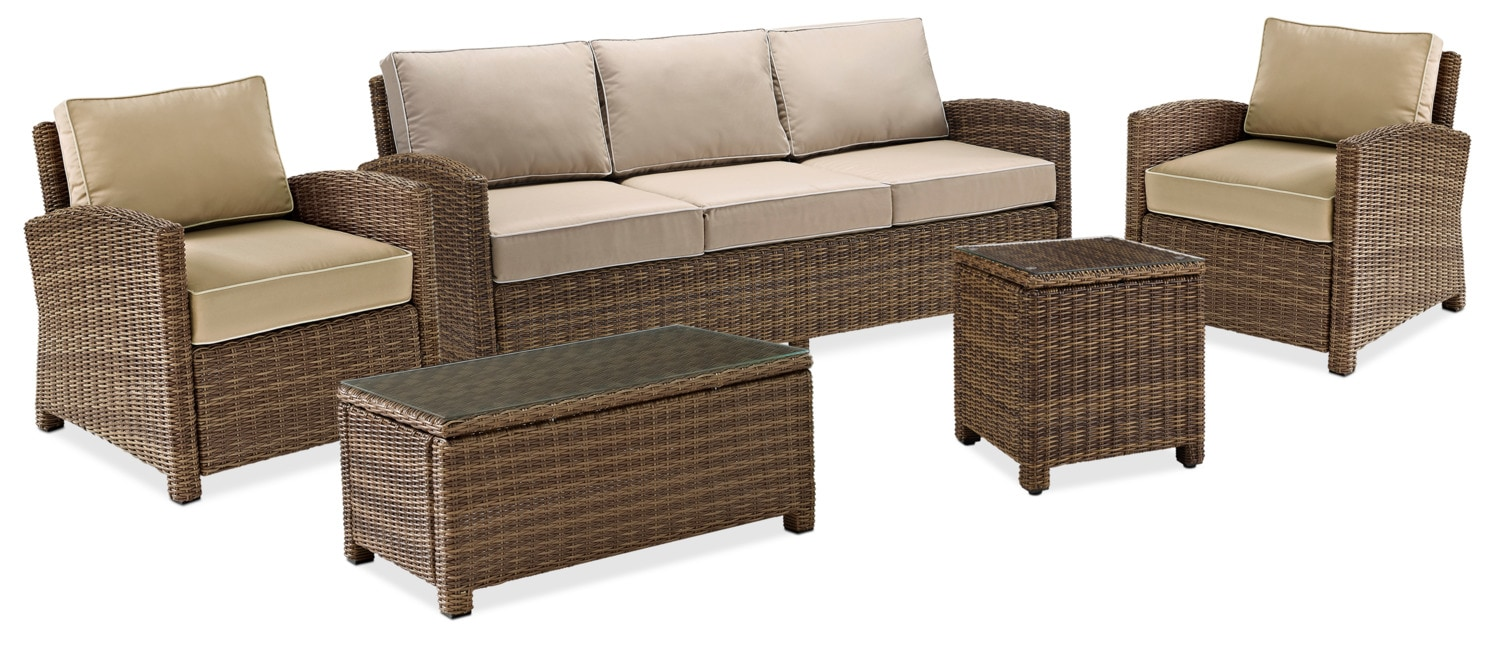 Destin Outdoor Sofa 2 Chairs Cocktail Table And End Table Set Sand Value City Furniture