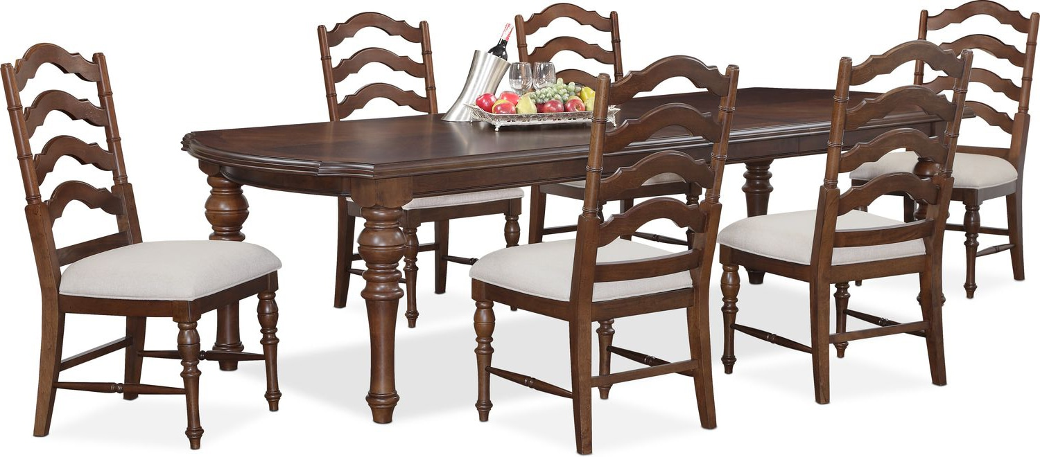 Charleston Rectangular Dining Table and 6 Side Chairs - Tobacco ...