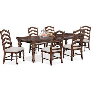 charleston rectangular dining table and 6 side chairs tobacco - Dining Room Sets Value City Furniture