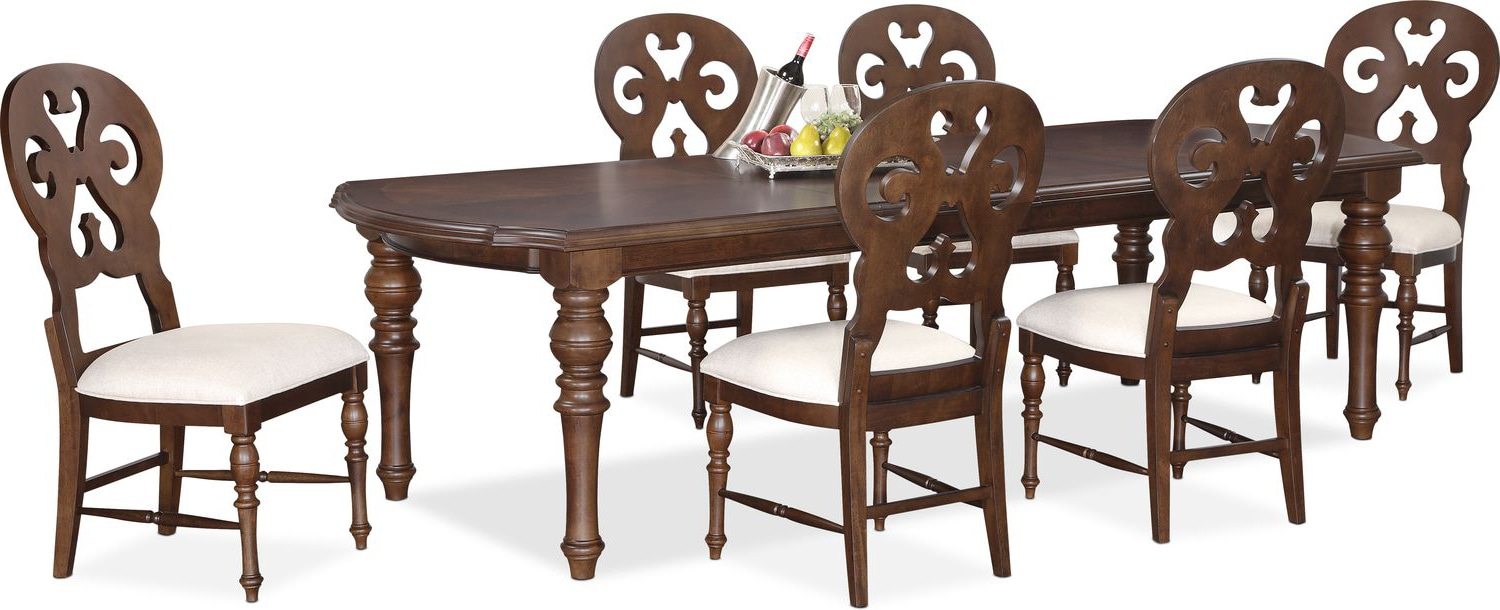 charleston rectangular dining table and 6 scrollback side chairs tobacco