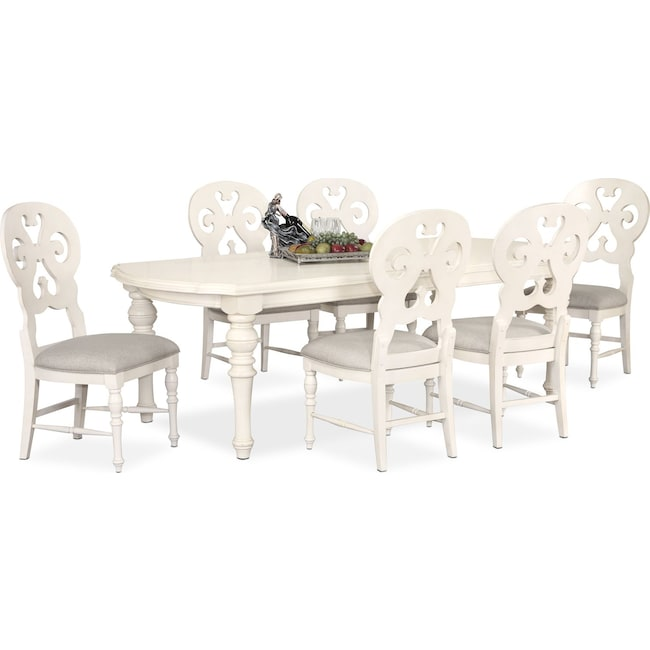 Dining Room Furniture - Charleston Rectangular Dining Table and 6 Scroll-Back Side Chairs - White