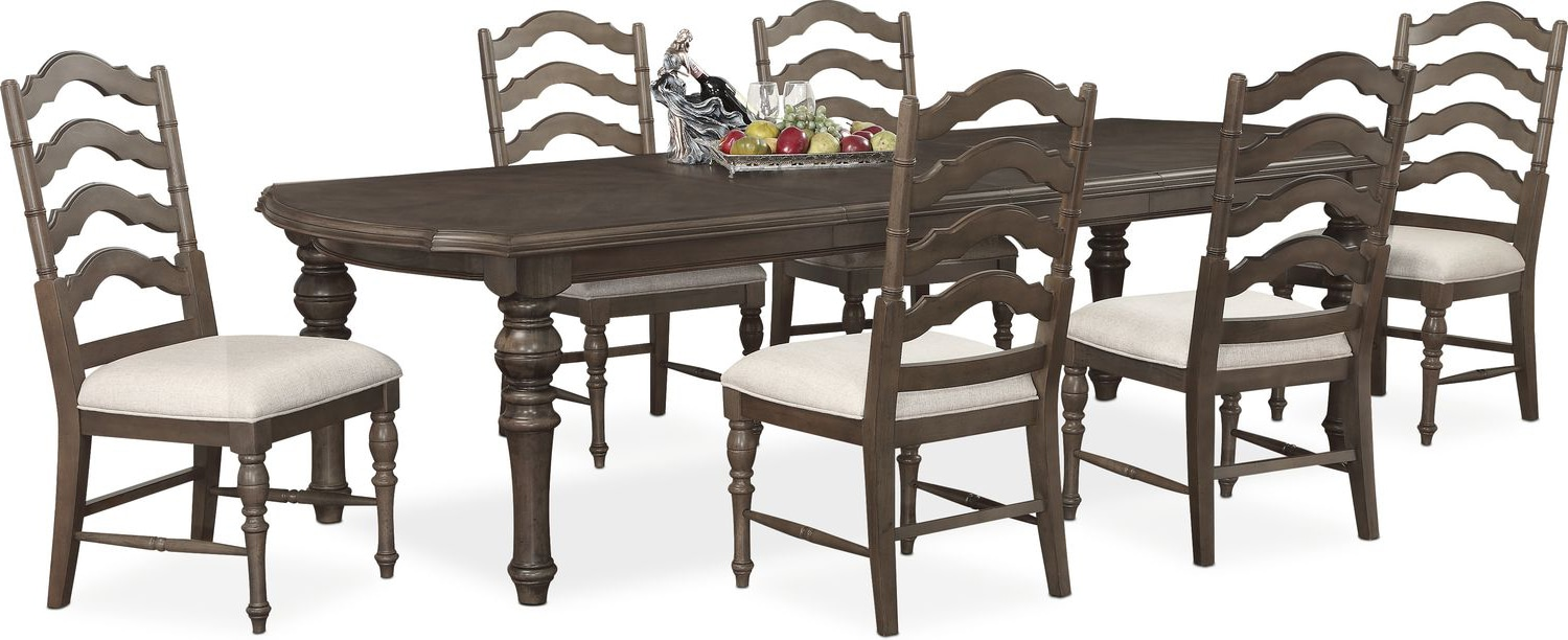 Charleston Rectangular Dining Table and 6 Side Chairs - Gray ...