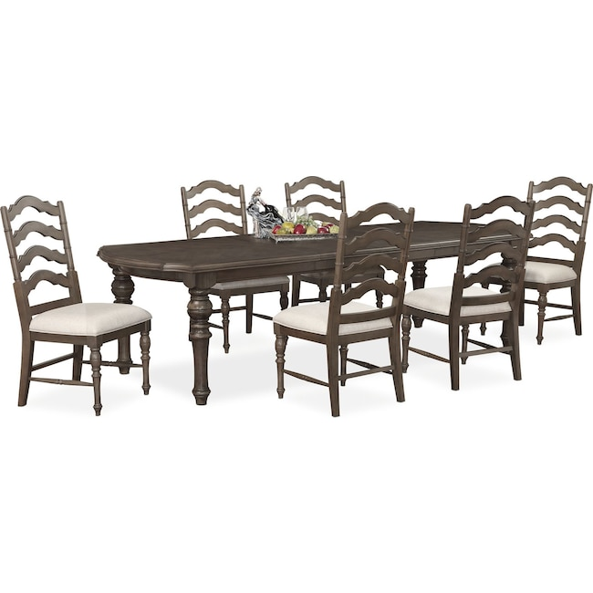 Dining Room Furniture - Charleston Rectangular Dining Table and 6 Side Chairs - Gray