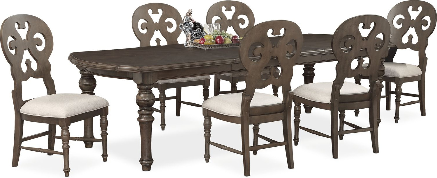 charleston rectangular dining table and 6 scroll back side chairs dining table and 6 scroll back side chairs hover to zoom