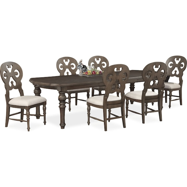 Dining Room Furniture Charleston Rectangular Table And 6 Scroll Back Side Chairs