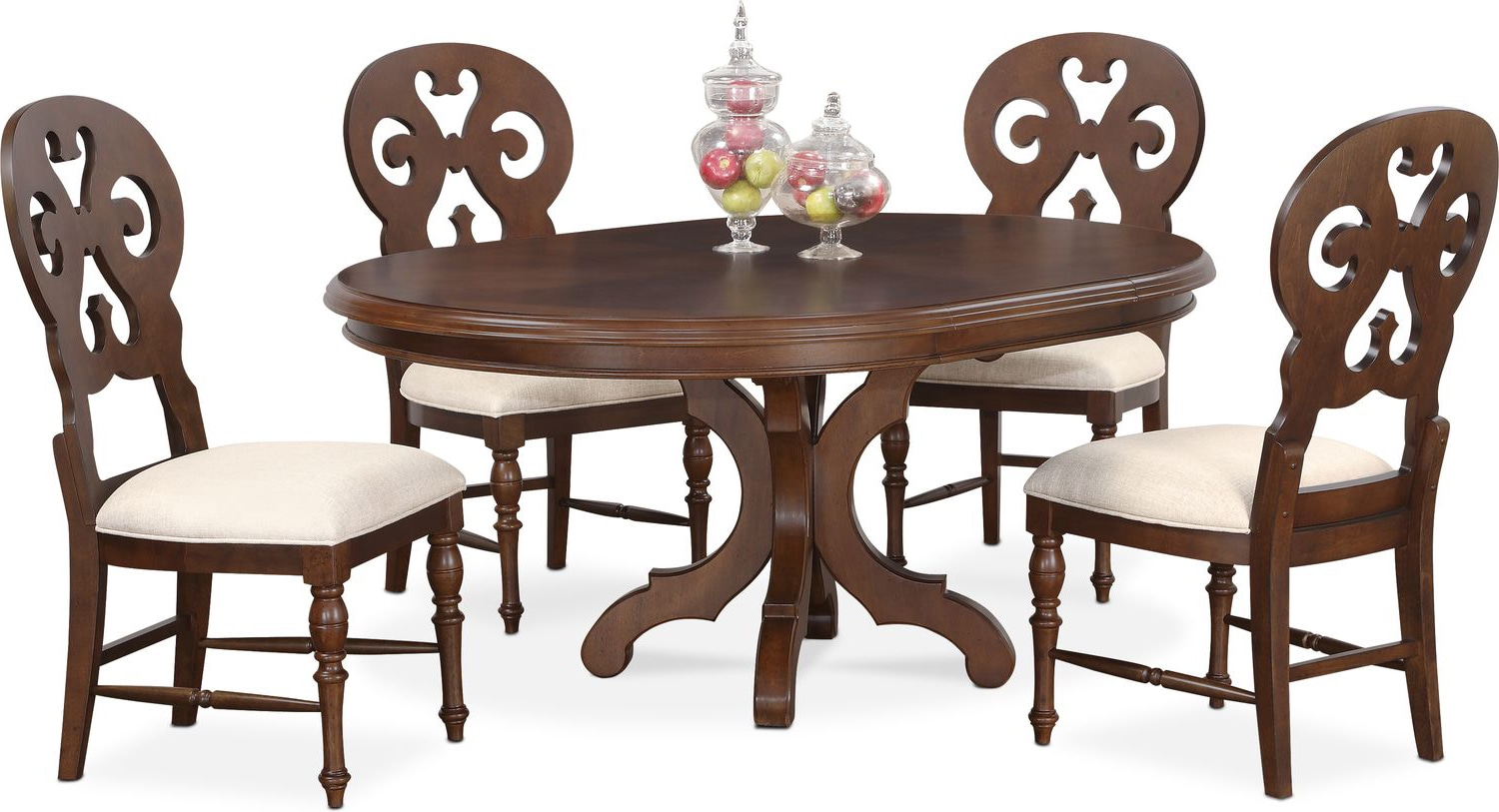Circular Dining Table And Chairs: Charleston Round Dining Table And 4 Scroll-Back Side