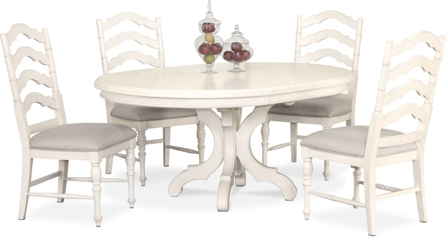 Charleston Round Dining Table and 4 Side Chairs - White ...