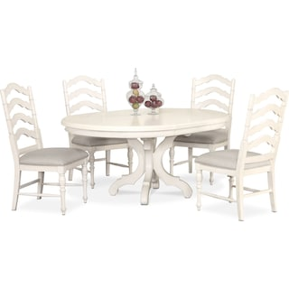 Charleston Round Dining Table and 4 Side Chairs - White