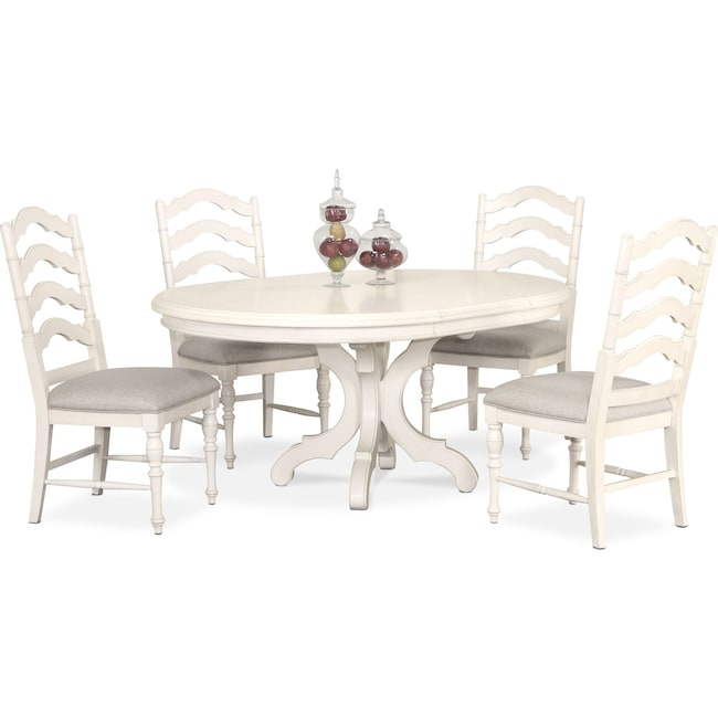 Dining Room Furniture - Charleston Round Dining Table and 4 Side Chairs - White