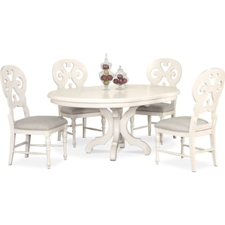 Charleston Round Dining Table and 4 Scroll-Back Side Chairs - White