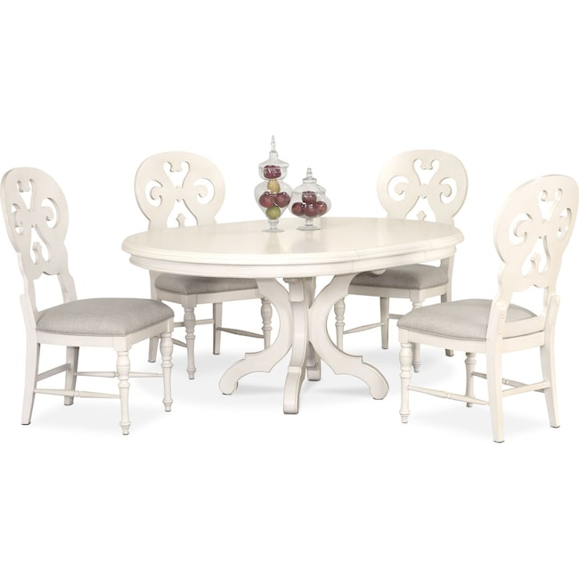 Round Dining Table With 4 Chairs: Charleston Round Dining Table And 4 Scroll-Back Side