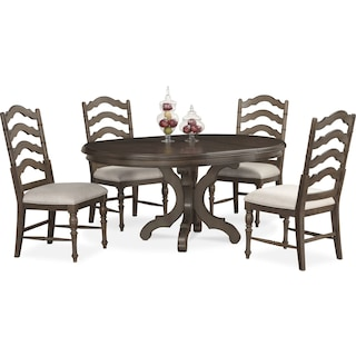 charleston round dining table and 4 side chairs gray. Interior Design Ideas. Home Design Ideas