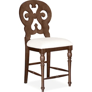 Charleston Counter-Height Scroll-Back Stool - Tobacco