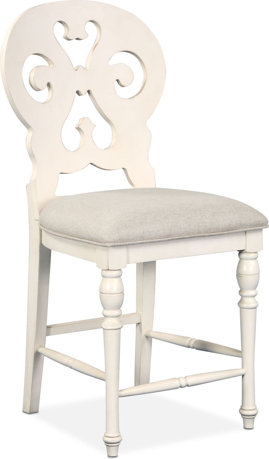 Attrayant Charleston Counter Height Scroll Back Stool   White