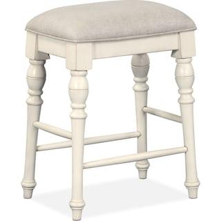 Charleston Counter-Height Backless Stool - White
