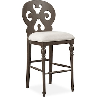 Charleston Scroll-Back Barstool - Gray
