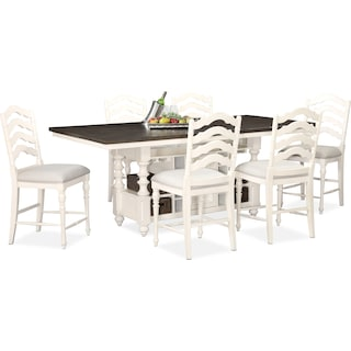 Charleston Counter-Height Kitchen Island and 6 Stools - White
