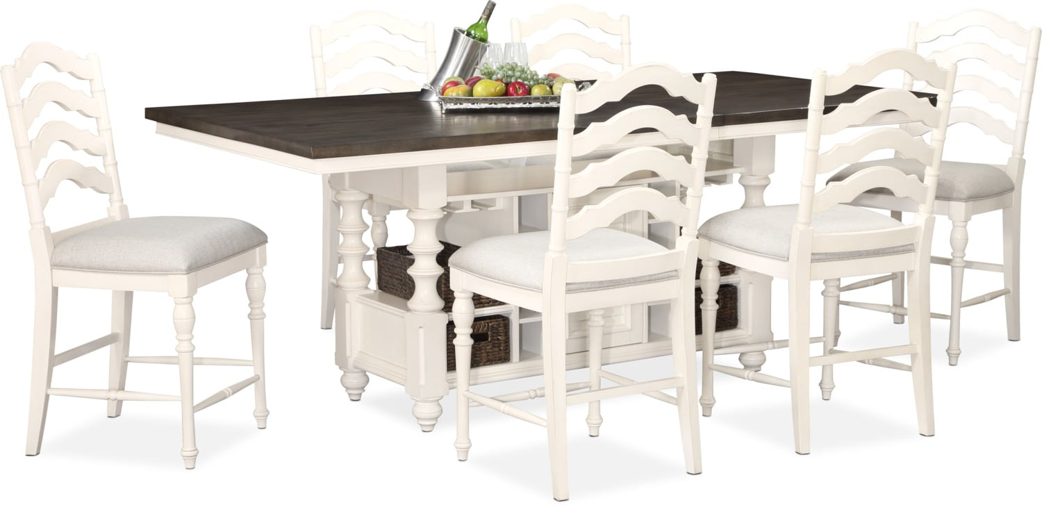 Beau Dining Room Furniture   Charleston Counter Height Dining Table And 6 Stools    White