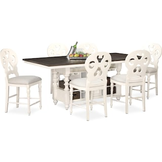 Charleston Counter-Height Dining Table and 6 Scroll-Back Stools - White