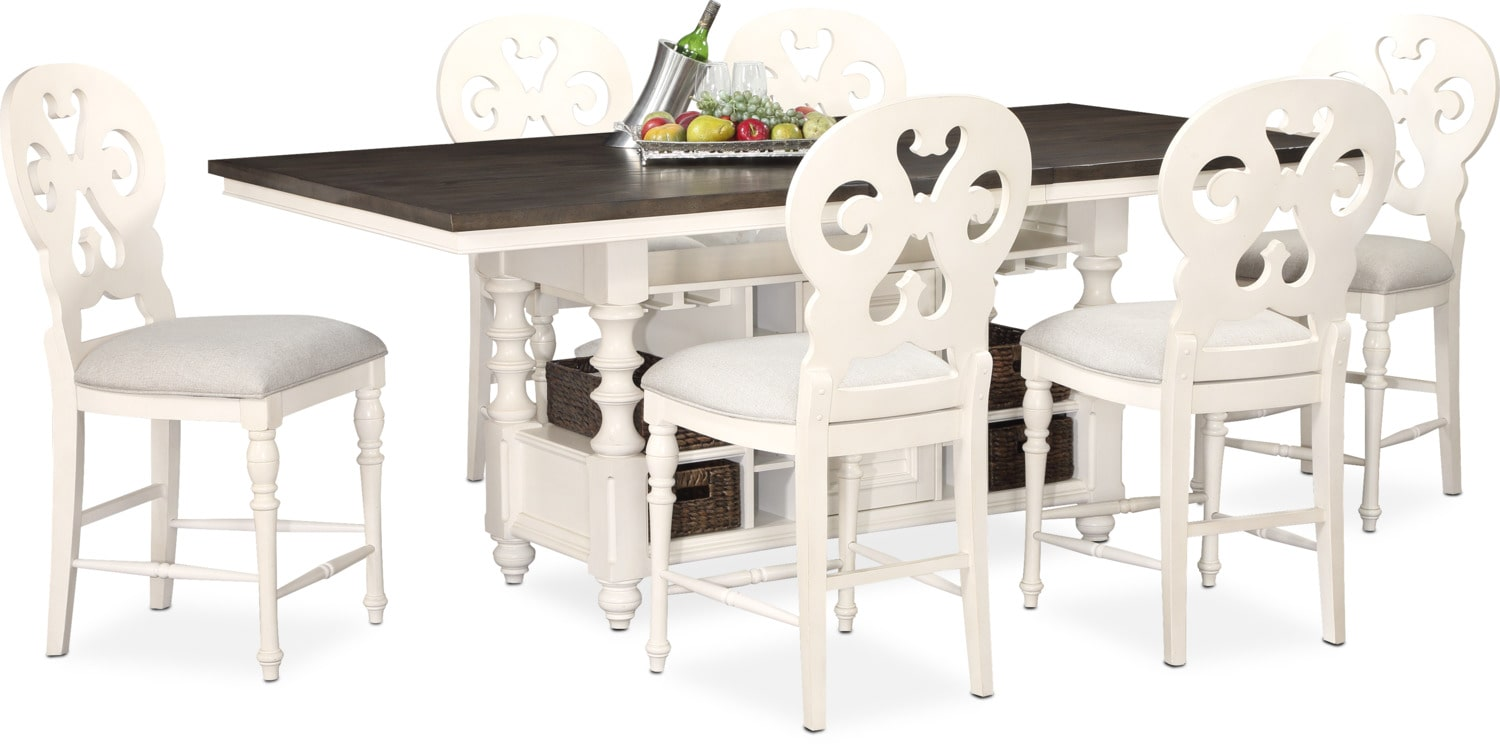 Charleston Counter Height Dining Table And 6 Scroll Back Stools   White