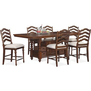 Charleston Counter-Height Dining Table and 6 Stools - Tobacco