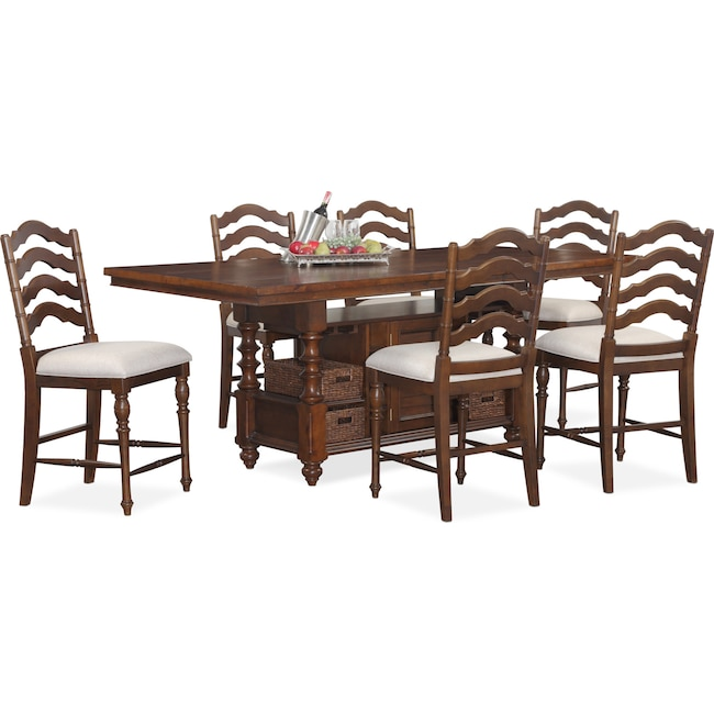 Dining Room Furniture - Charleston Counter-Height Dining Table and 6 Stools - Tobacco