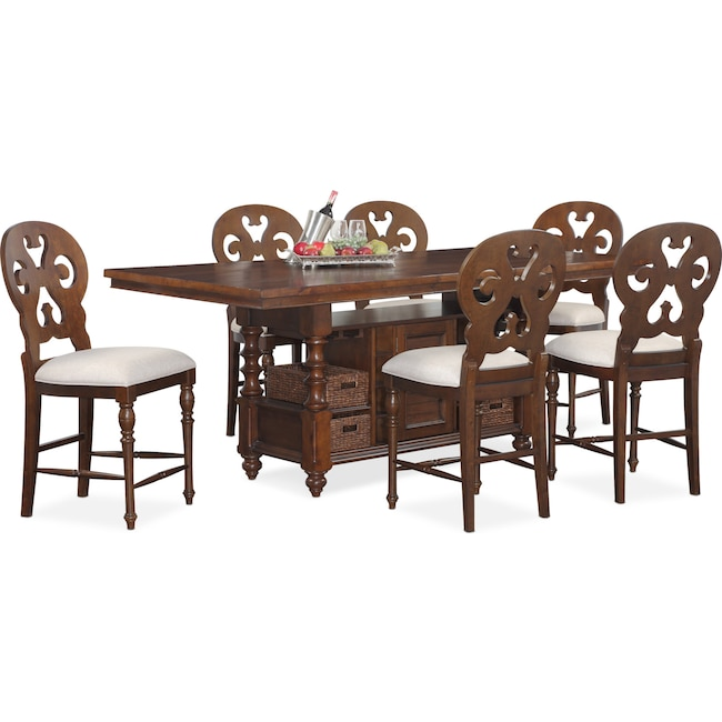 Charleston Counter Height Dining Table And 6 Scroll Back
