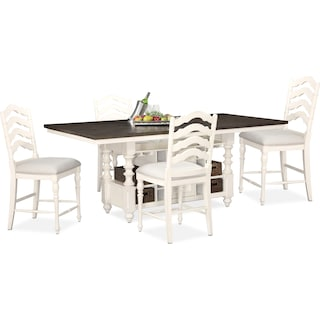 Charleston Counter-Height Dining Table and 4 Stools - White