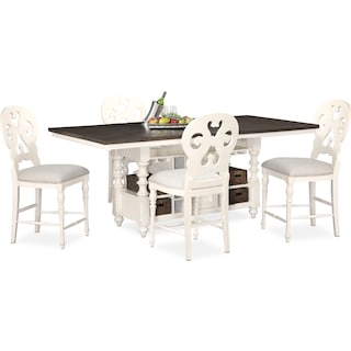 Charleston Counter-Height Dining Table and 4 Scroll-Back Stools - White