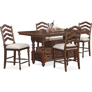 Charleston Counter-Height Dining Table and 4 Stools - Tobacco