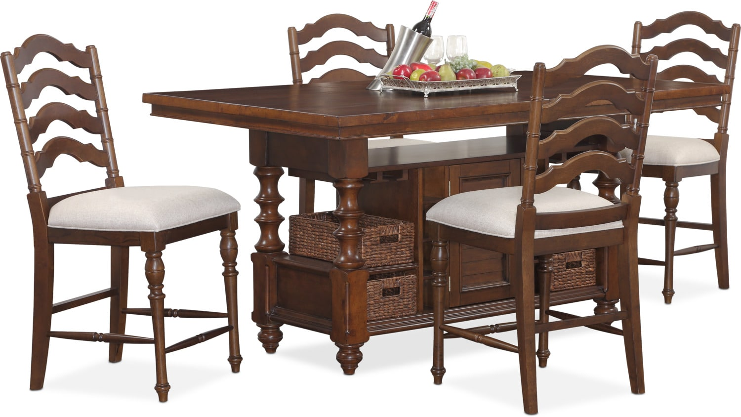 charleston dining table and 4 stools tobacco