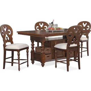 Charleston Counter-Height Dining Table and 4 Scroll-Back Stools - Tobacco