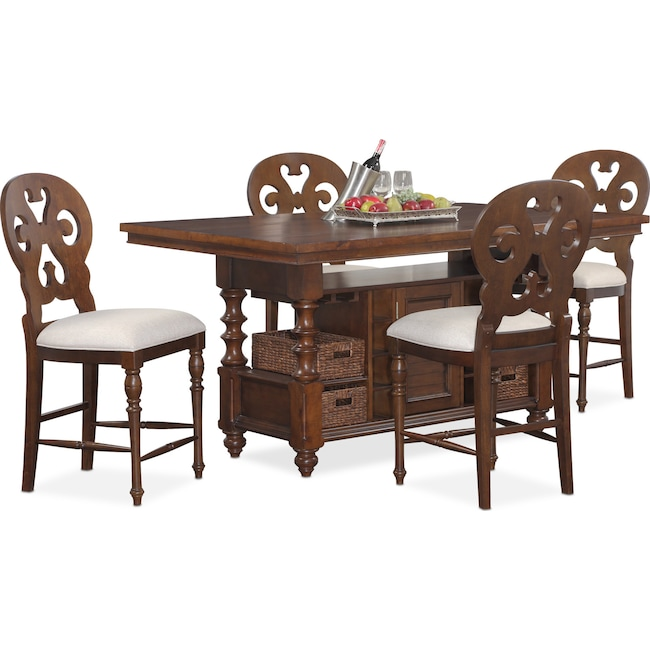 Dining Room Furniture - Charleston Counter-Height Dining Table and 4 Scroll-Back Stools - Tobacco