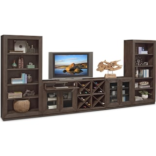 Malibu 5-Piece Entertainment Wall Unit - Umber