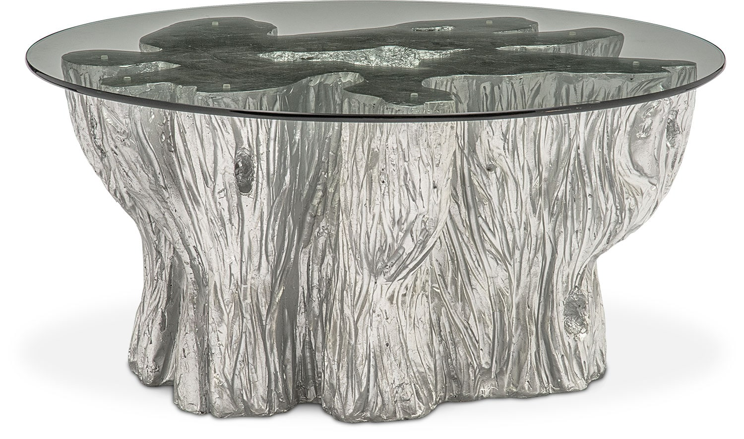 Natura Cocktail Table Silver Value City Furniture And Mattresses - Silver tree stump coffee table