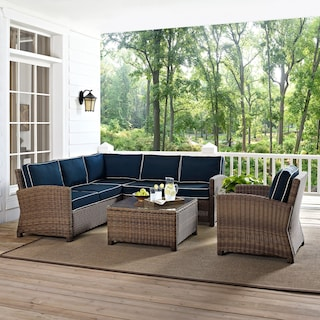 Destin 3-Piece Outdoor Sectional, Chair and Coffee Table Set