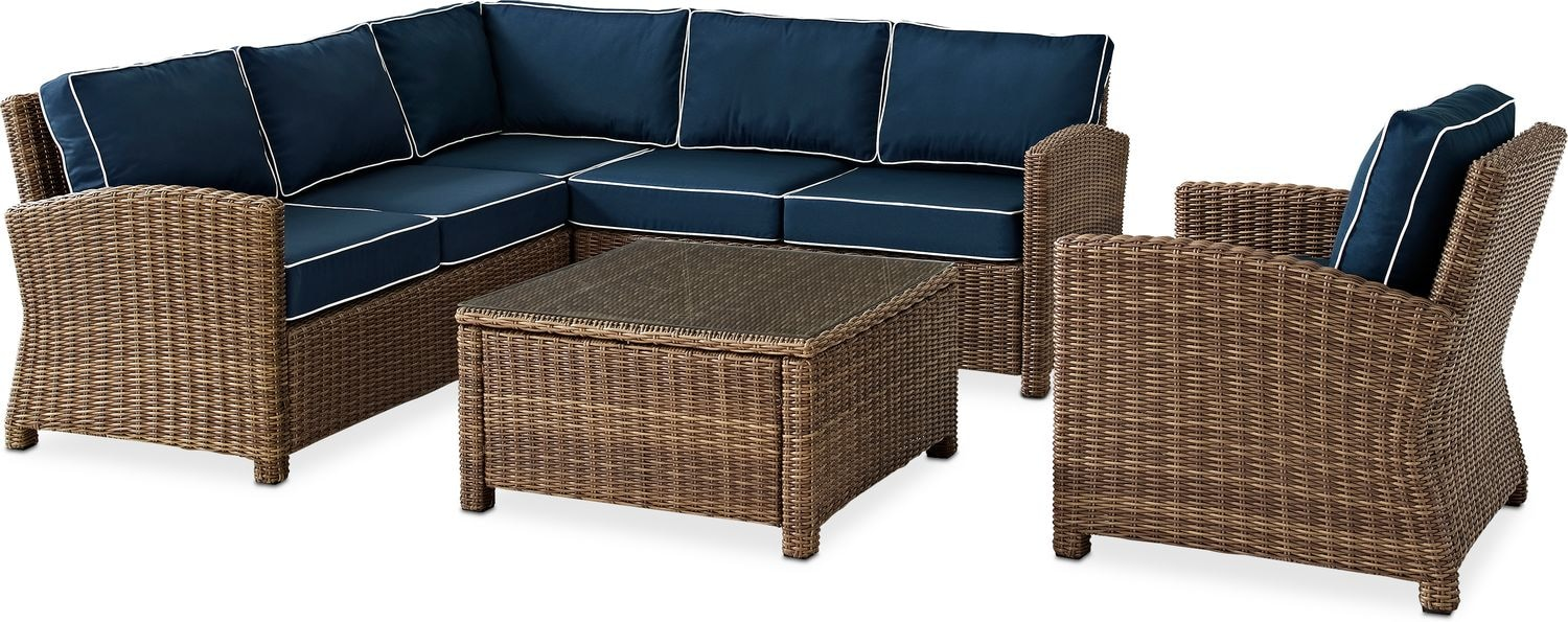 Outdoor Furniture - Destin 3-Piece Outdoor Sectional, Chair and Coffee Table Set
