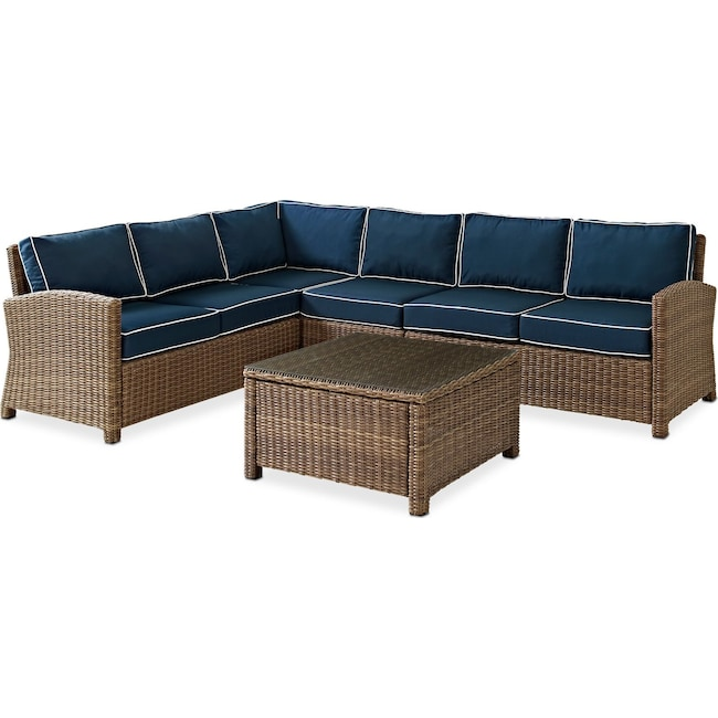 Destin 4 Piece Outdoor Sectional And Coffee Table Set Blue Value