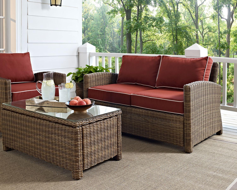 Destin Outdoor Loveseat Sangria Value City Furniture And Mattresses