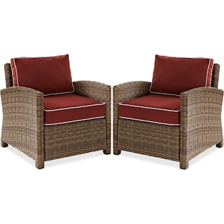 Destin Set of 2 Outdoor Chairs - Sangria