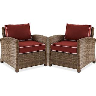 Destin Set of 2 Outdoor Chairs - Sangria