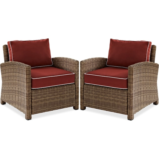 Outdoor Furniture - Destin Set of 2 Outdoor Chairs - Sangria
