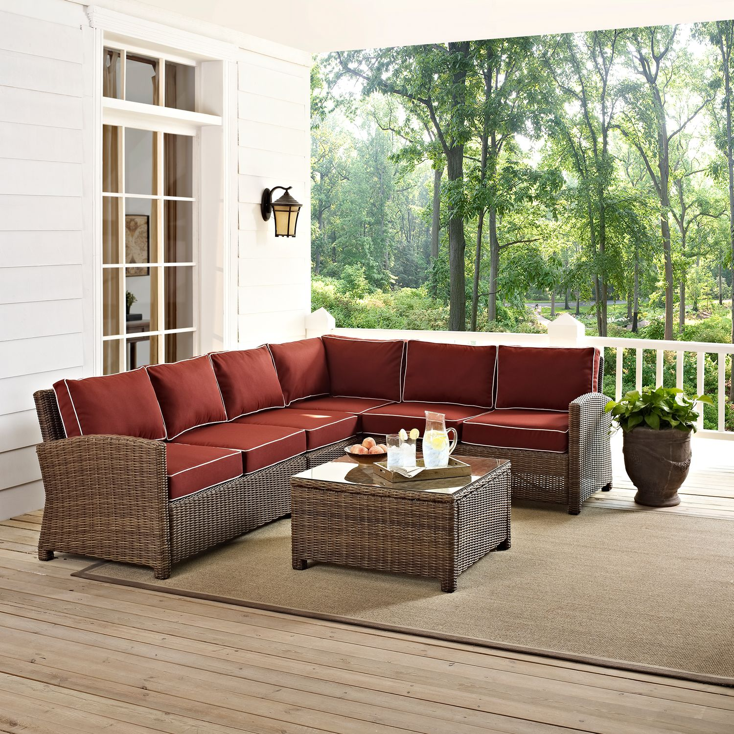 Destin 4 Piece Outdoor Sectional And Cocktail Table Set Sangria Value City Furniture And