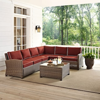 Destin 4-Piece Outdoor Sectional and Cocktail Table Set - Sangria