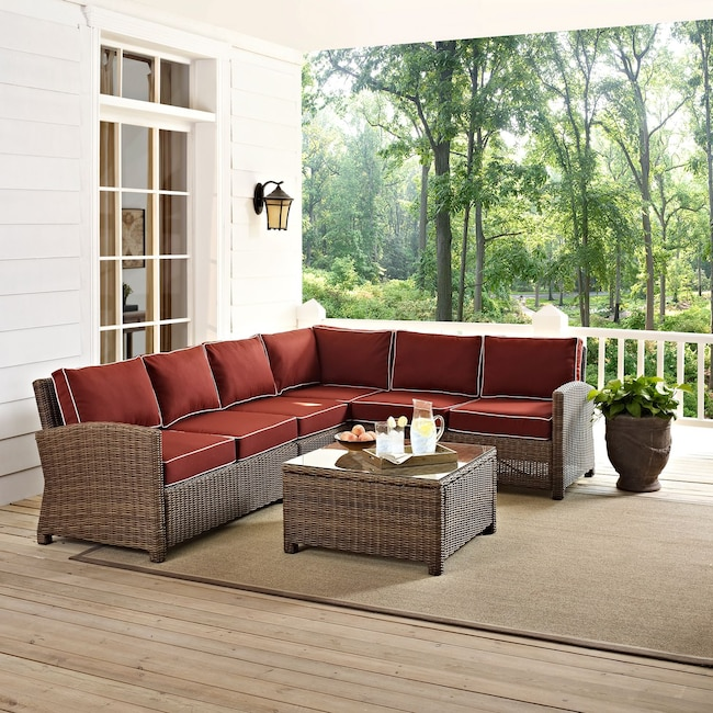 Destin 4 Piece Outdoor Sectional And Coffee Table Set Sangria
