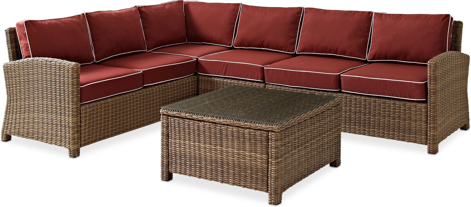 Destin 3 Piece Outdoor Sectional And Cocktail Table Set Sangria Value City Furniture And