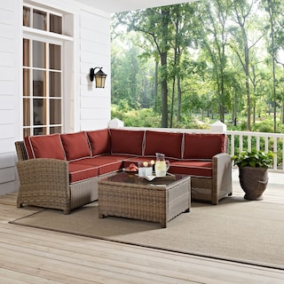 Destin 3-Piece Outdoor Sectional and Cocktail Table Set - Sangria